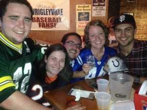 Law school friends at my Colts bar with me. I won an autographed Peyton Manning mini helmet with their help!